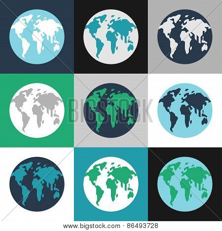 Earth Day Celebrating Card Or Poster Design. Set Of Planet Earth