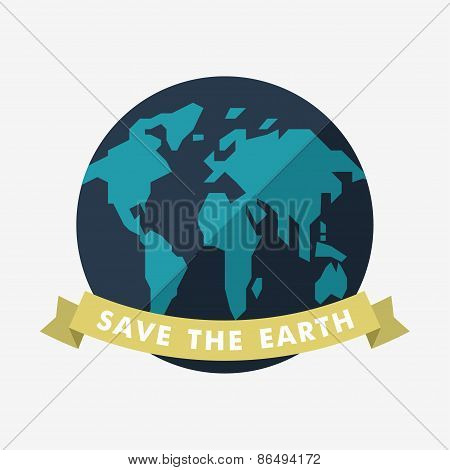 Vintage Earth Day Celebrating Card Or Poster Design. Save The Earth