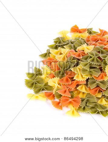 Bunch of the farfalle pasta three colors