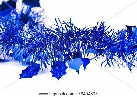 Christmas blue tinsel