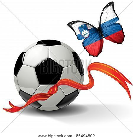 Soccer ball with ribbon and butterfly with the flag of Slovenia