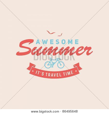 Retro Summer Vintage Label On Colorful Background. Tropical Paradise, Beach Vacation, Adventure