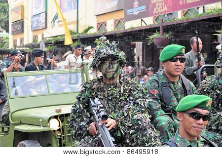Soldiers in uniform, Yogyakarta city festival military parade