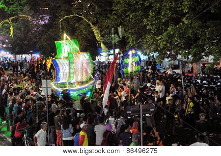Ship made from recycled bottles, Yogyakarta city festival parade