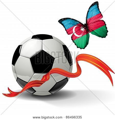 Soccer ball with ribbon and butterfly with the flag of Azerbaijan