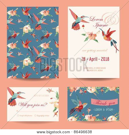 Invitation, Save the Date Card Set - for Wedding, Baby Shower - in vector