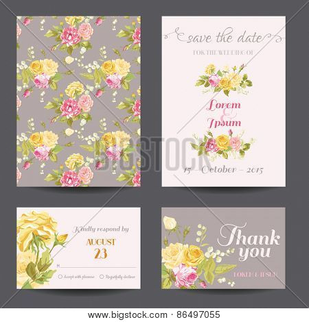 Invitation Flower Card Set - Save the Date - for Wedding, Baby Shower - in vector