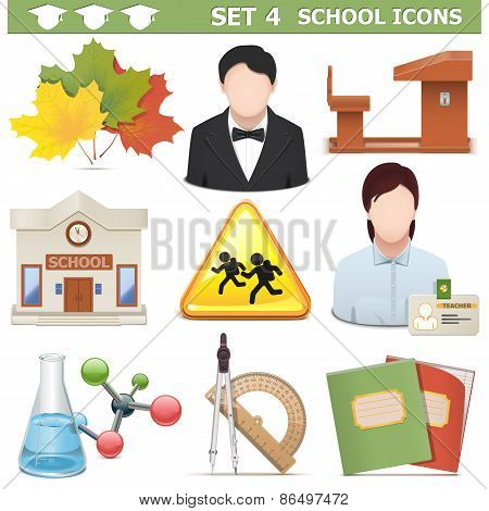 Vector School Icons Set 4