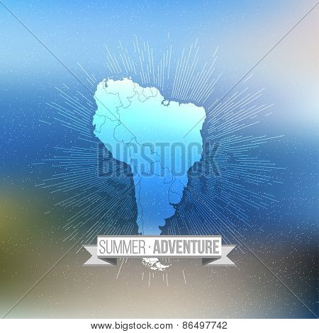 Summer adventure poster. South america map with vintage style star burst on blurred background, retr