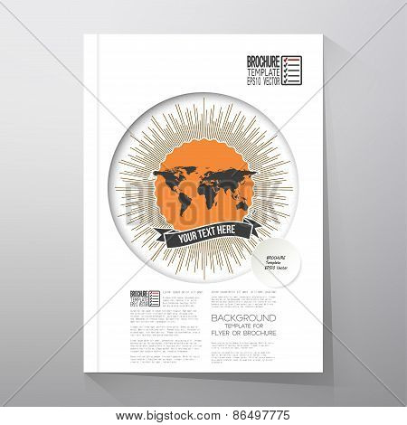 Black political world map with vintage style star burst. Brochure, flyer or report for business, tem