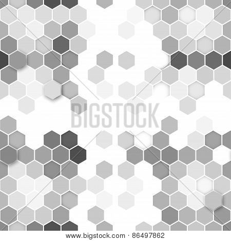 Hexagonal seamless pattern. Repeating geometric gray background