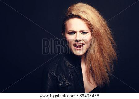 beautiful blonde woman portrait, rock style