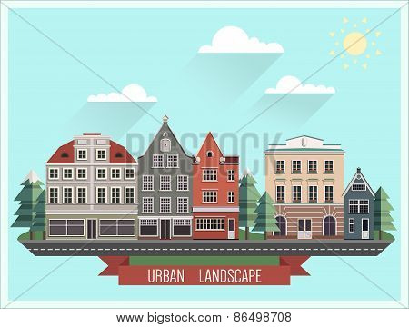 Set of the old Northern European buildings. Set of the cartoon houses.