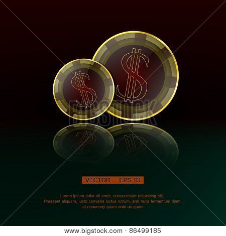 Dollar chips on red-green background