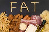 Постер, плакат: Food containing fat Too much fat in diet causes obesity and other health problems
