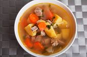image of veal  - Veal soup with potatos carrots and onion - JPG