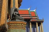 picture of buddha  - Meditating Buddha Statue at Temple of The Emerald Buddha in Bangkok - JPG