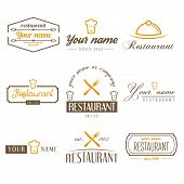 Set of logo and logotype elements for restaurant, cafe and bar poster