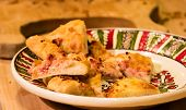 picture of hot fresh pizza  - home made fresh tasty traditional pizza slices  - JPG