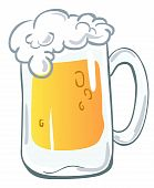 picture of beer mug  - Vector illustration of a cold beer mug - JPG