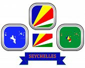 stock photo of creole  - map button flag and symbol of Seychelles on a white background - JPG