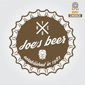Vintage logo, badge, emblem or logotype design element for beer, beer shop, home brew, tavern, bar, poster