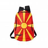 picture of macedonia  - Macedonia flag backpack isolated on white background - JPG