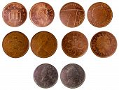 pic of copper coins  - different old british coins isolated on white background - JPG