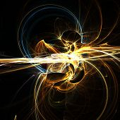stock photo of gold mine  - Fractal abstract of molten gold mines - JPG