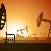 picture of samson  - Vector illustration of working oil well on sunset background - JPG