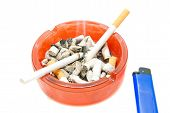 stock photo of cigarette lighter  - two cigarettes and blue lighter closeup on white - JPG