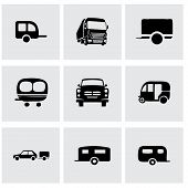pic of trailer park  - Vector trailer icon set on grey background - JPG