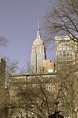 image of empire state building  - Madison square park located on the 5th avenue has impressive views of the Empire State Building and the Flatiron Building - JPG