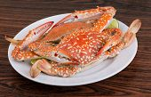 image of cooked blue crab  - Boiled crabs with lime on the wood background - JPG