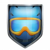 picture of nordic skiing  - Bright metallic shield in the ski helmet and goggles inside - JPG