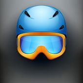 stock photo of nordic skiing  - Background of Front view of Classic Ski helmet and snowboard goggles - JPG