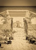 picture of altar  - Beautiful vintage wedding altar on caribbean beach - JPG