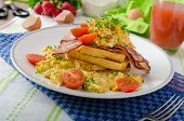 picture of french toast  - Scrambled eggs with bacon and French toast tomato and microgreens - JPG