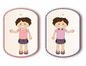 stock photo of nonverbal  - Beautiful tags with cartoon girl waving hand on white - JPG