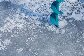 picture of ice fishing  - Close - JPG