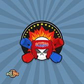 Sports shield emblem. Boxing logo skull. Logotype  boxing Club. Skull in boxing gloves and helmet, w poster