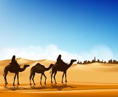 pic of caravan  - Group of Arab People with Camels Caravan Riding in Realistic Wide Desert Sands in Middle East Going to a City - JPG