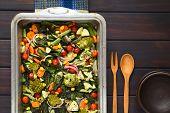 stock photo of sweet-corn  - Overhead shot of baked vegetables  - JPG