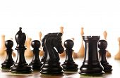 foto of chess piece  - Chess pieces setup before the game  - JPG