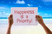 image of priorities  - Happiness is a Priority card with beach background - JPG