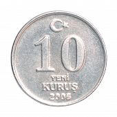 picture of turkish lira  - 10 Turkish kurus coin closeup isolated on white background - JPG