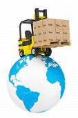 image of lift truck  - Forklift truck with boxes and pallet over Earth Globe on a white background - JPG