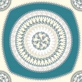 picture of blue things  - Seamless pattern with circle ornament  in beige blue colors and Antique style for decorate different things - JPG