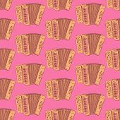 pic of accordion  - Sketch accordion music instrument in vintage style vector seamless pattern - JPG