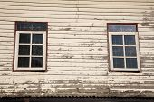picture of wooden shack  - Windows and old wooden wall of cottage in Thai countryside - JPG